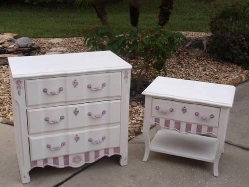 Reduced White Nightstand And Dresser For Girls Bedroom Or Nursery For Sale In New Port Richey