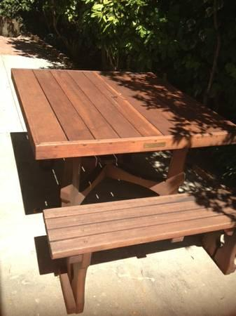 redwood patio tables and benches for sale in burlingame