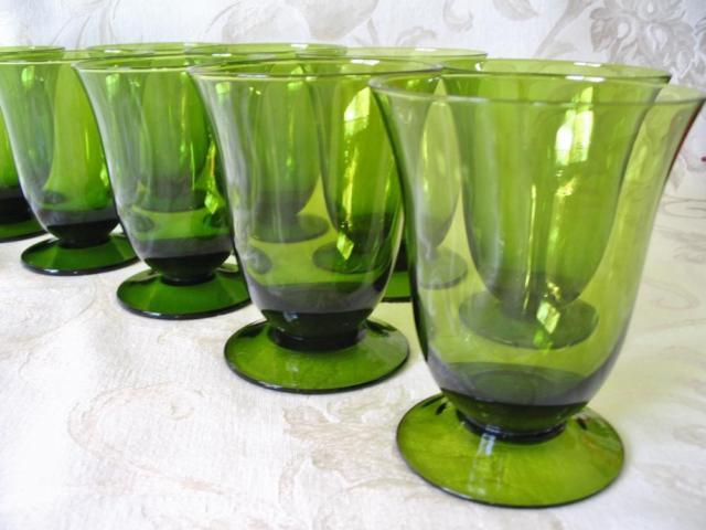 Refined Antique Green Glassware Set