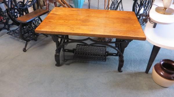 Refurbished Vintage Sewing Machine Base Coffee Table For Sale In New Refurbished Sewing Machines Sale