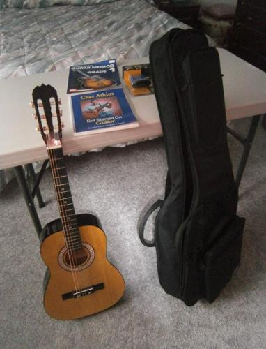 REGULAR SIZE GUITAR WITH CASE, MUSIC BOOKS, &