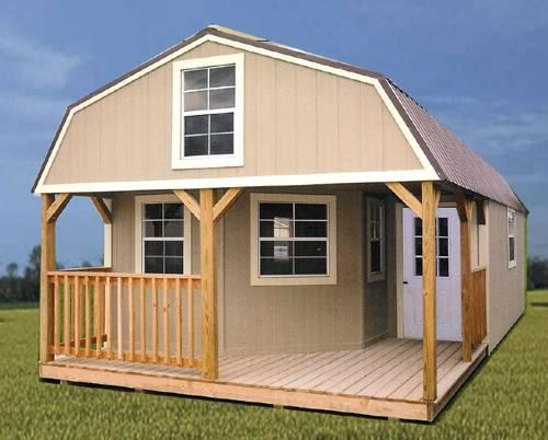 Rent to own storage sheds buildings barns cabins no for Homes with big garages for sale