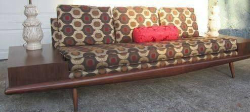 Red Vintage 1950s Adrian Pearsall Sofa Couch Mid