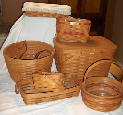 Retired longaberger baskets collection of 7 rare Longaberger baskets for sale