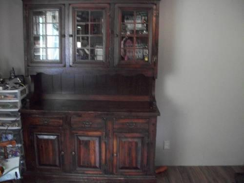 Retro 1950u0027s Hutch China Cabinet Oak With Glass