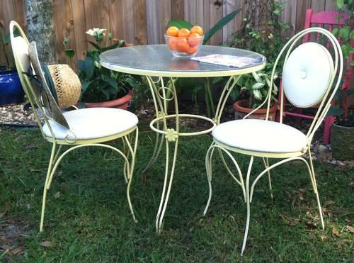 retro true vintage wrought iron patio bistro set - Vintage Wrought Iron Patio Furniture