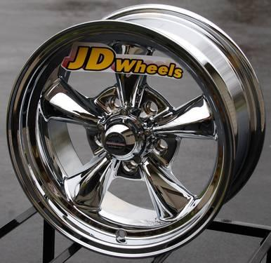Rev classic 100 chrome wheels 5x4 5 16 inch staggered set for American classic wheels for sale