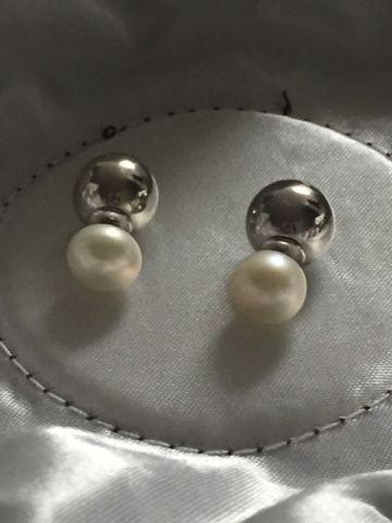 Reversible Pearl and Silver Ball Earrings
