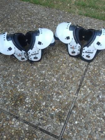 Riddell shoulder pads and helmets