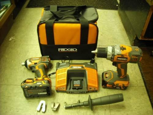 RIDGID 18-Volt Lithium-Ion Cordless Drill and Impact Driver 2 Battery