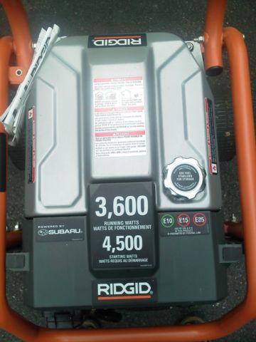 RIDGID 45003600 Running Watts Portable Generator - Zero Hours Used