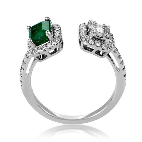 Rings Women's 18K White Gold Diamond & Emerald Open