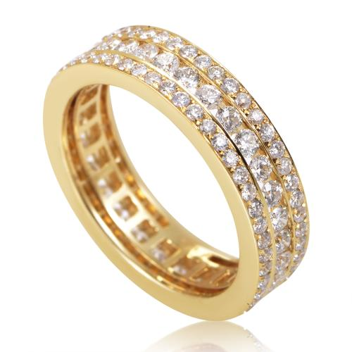 Rings Women's 18K Yellow Gold Diamond Pave Eternity