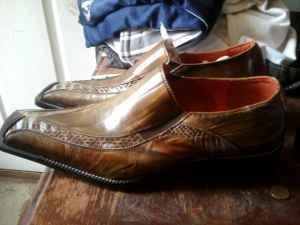 Mens Robert Wayne Black Leather Lace Up Dress Shoes Size 8