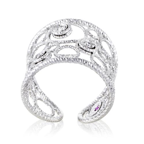 Roberto Coin Bollicine Womens 18K White Gold Diamond Band Ring