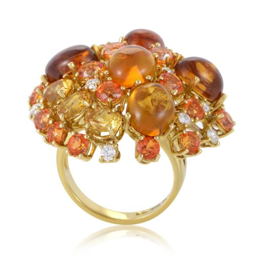 Roberto Coin Shanghai Womens 18K Yellow Gold Diamond and Citrine Cocktail Ring