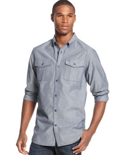 Rocawear Shirt Chambray Roll Tab Sleeve Shirt For Sale In