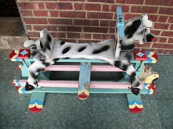 Rocking Horse Glider vintage wooden handpainted - $199