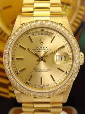Rolex 18238 Day Date President Solid 18k Gold Diamond Bezel