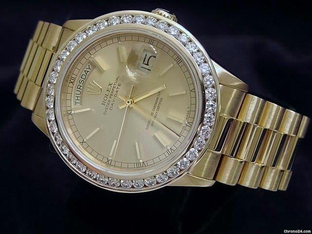 Rolex 18k Gold Day-date President Champagne Diamond
