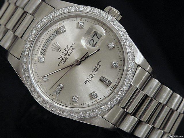 Rolex 18k Gold Day-date President Silver Diamond 18039