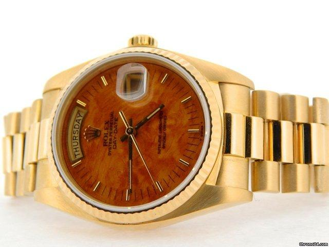 Rolex 18k Gold Day-date President Wood 18038