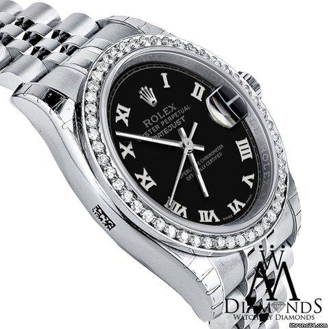 Rolex 2016 Diamond 36mm Rolex Jubilee Datejust Stainless Steel Ss Black Roman Numeral