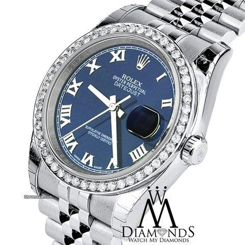 Rolex 2016 Diamond Rolex Jubilee Datejust Stainless Steel Blue Roman Dial Mens Watch