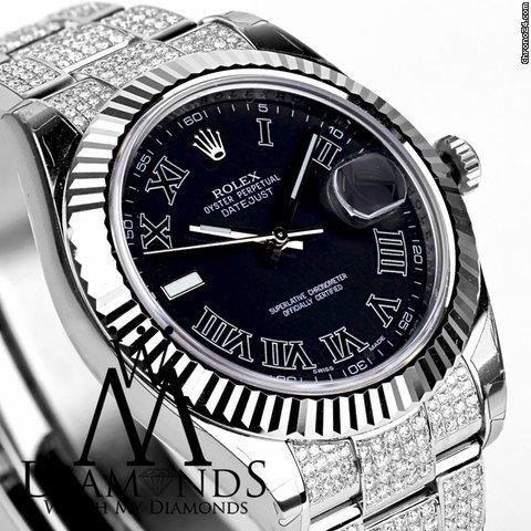 Rolex 41mm Black Face Rolex Datejust 2 Ii With Custom Diamond Bezel Box And Papers