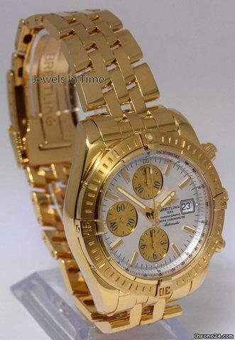 Rolex Breitling Chronomat Evolution Chronograph Mens Watch 18k Gold BoxPapers K13356