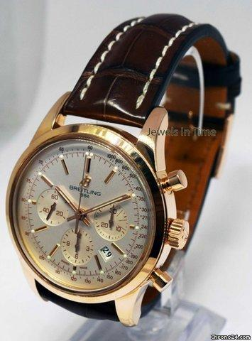 Rolex Breitling Transocean Chronograph 43mm Watch 18k Rose Gold BoxPapers RB0152