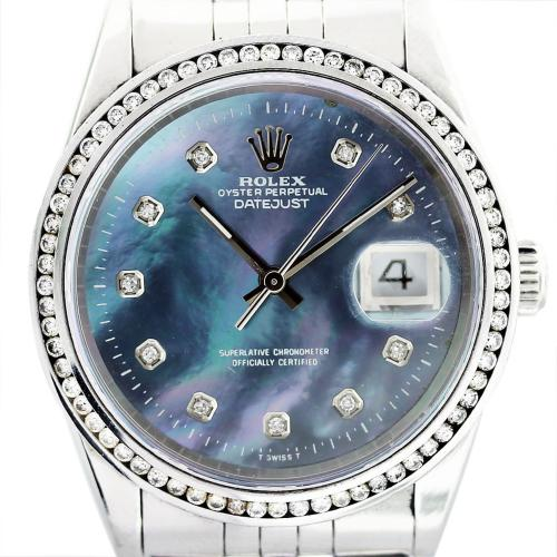 Rolex Datejust 16220 Tahitian Mother of Pearl Dial Mens
