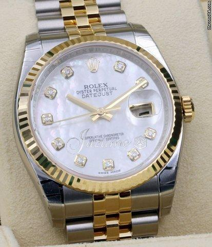 Rolex Datejust 36 116233-MOPDFJ White Mother of Pearl Diamond Fluted Yellow Gold Stainless Steel Jubilee 2016