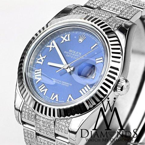 Rolex Datejust Ii White Gold Fluted Bezel With Box And Papers Custom Diamonds