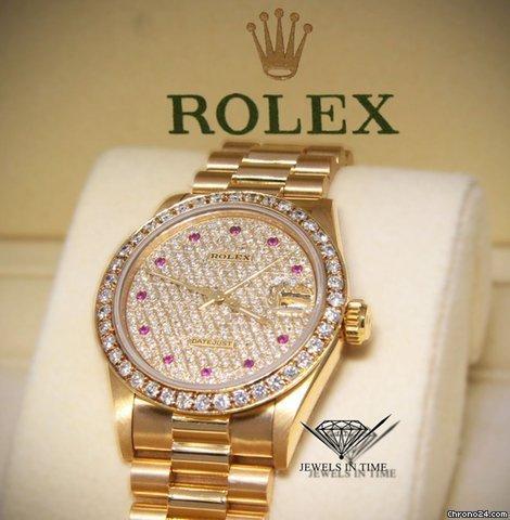 Rolex Datejust President 18k Yellow Gold Diamond  Ruby 31mm Ladies Watch 68278