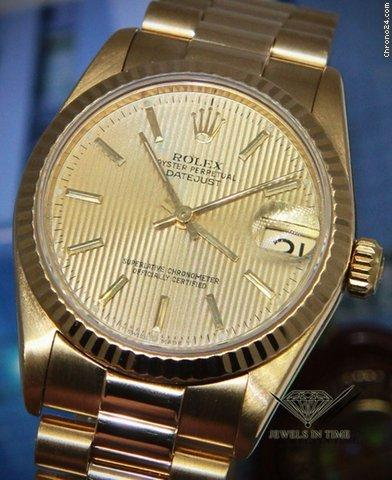 Rolex Datejust President 18k Yellow Gold Tapestry Dial 31mm Ladies Watch 68278