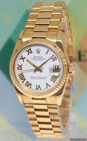 Rolex Datejust President 18k Yellow Gold White Dial Midsize Ladies Watch 68278