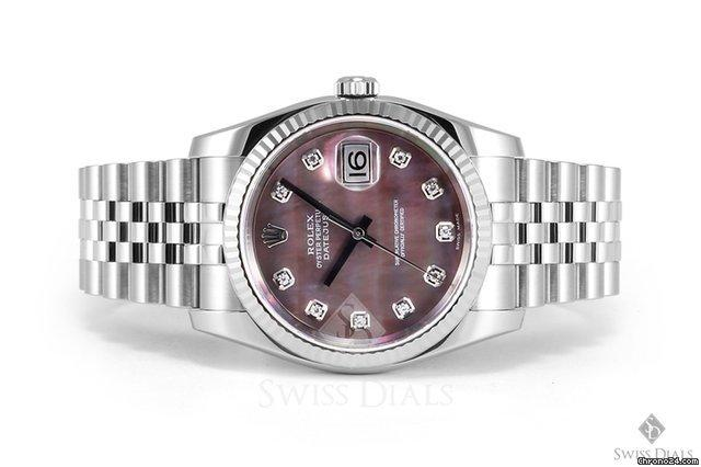 Rolex Datejust Stainless Steel Black Mother of Pearl Diamond Dial Fluted Bezel Jubilee Band New Styl