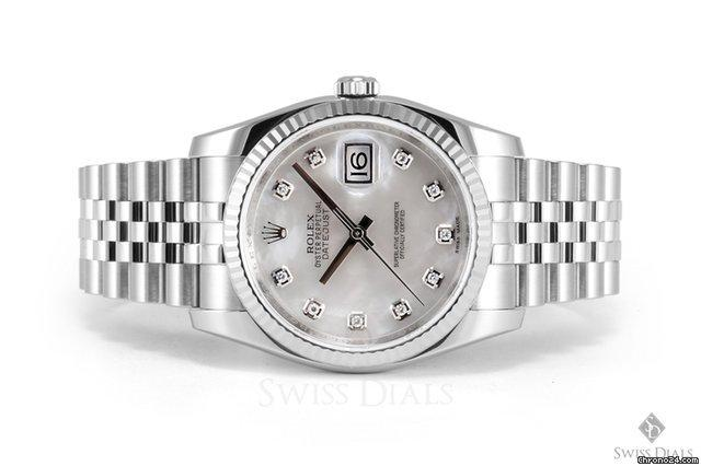 Rolex Datejust Stainless Steel Mother of Pearl Diamond Dial Fluted Bezel Jubilee Band New Style