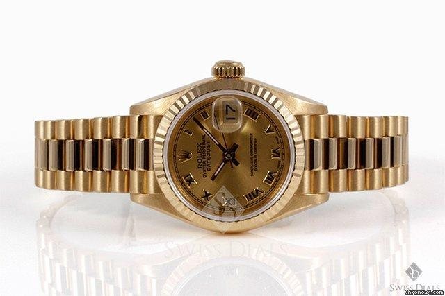 Rolex Datejust Yellow Gold Champagne Roman Numeral Dial Fluted Bezel President Band