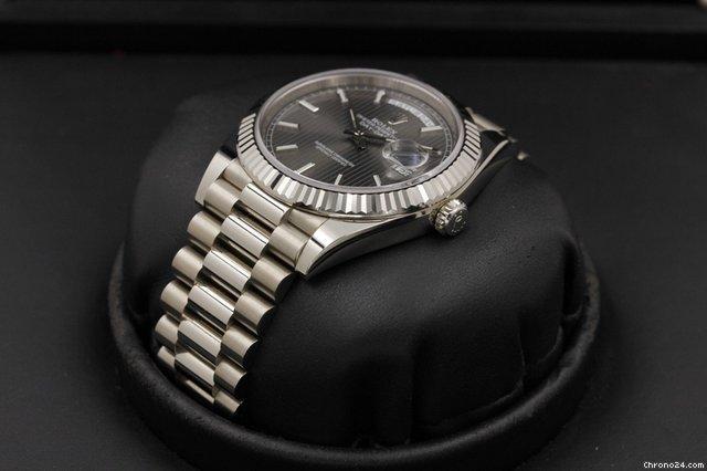 Rolex Day-Date 40 - 228239 - Dark Rhodium Stripe Motif Dial - UNPOLISHED