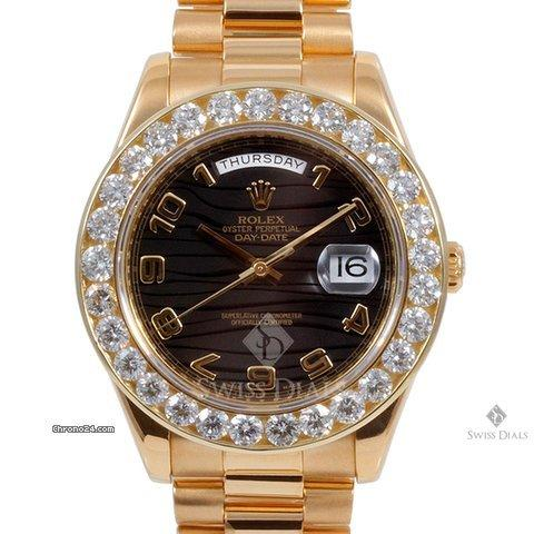 Rolex Day-Date II Yellow Gold Black Wave Arabic Dial Diamond Bezel President Band