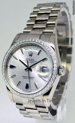 Rolex Day-Date President 18k White Gold & Diamond Watch