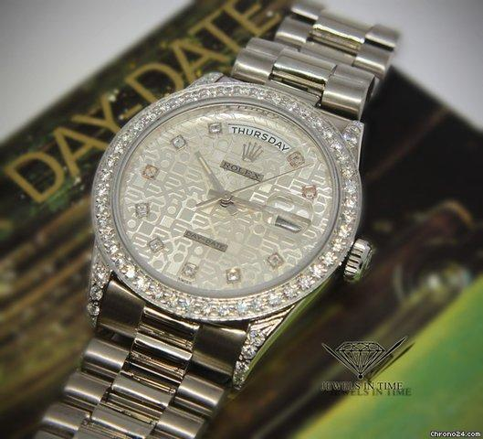 Rolex Day-Date President 18k White Gold Jubilee Diamond DialBezel Watch 18239
