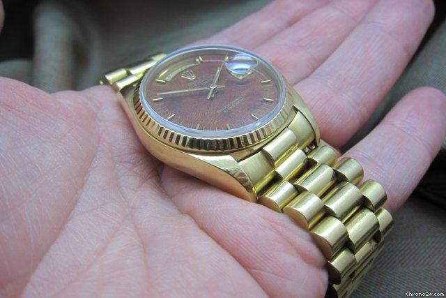 Rolex DayDate 18038 Mahogany Burled Wood Dial