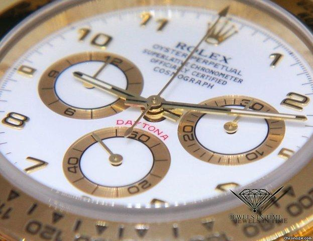 Rolex Daytona Chronograph 18K Yellow Gold White Dial