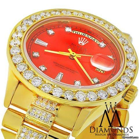 Rolex Diamond Presidential Rolex 18038 Single Quickset Red Dial 18k Yellow Gold Watch