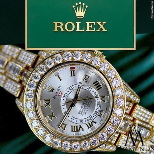 Rolex Diamond Rolex Sky-dweller 18k Yellow Gold 42mm