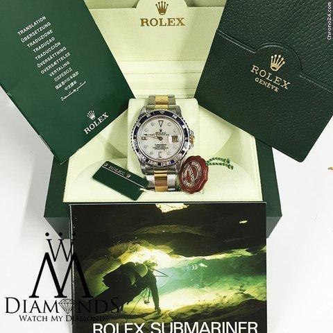 Rolex Diamond Rolex Submariner Two Tone 18k Gold Watch Baguette Diamond Bezel