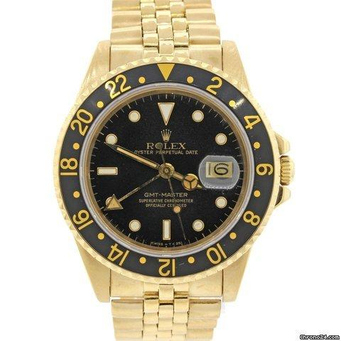 rolex gmt master 16758 18k yellow gold jubilee black dial. Black Bedroom Furniture Sets. Home Design Ideas